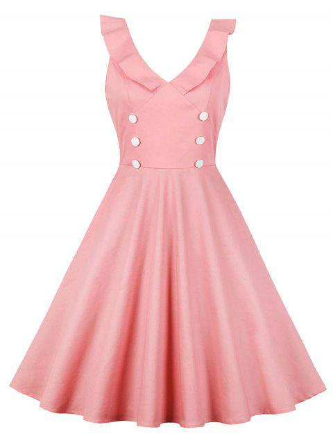 Ruffle Button Vintage Dress - PINK M