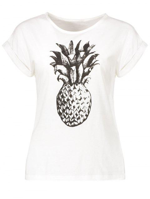 Pineapple Print Round Neck T-Shirt - WHITE S
