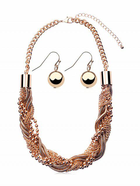 Beaded Layered Chain Necklace and Hook Earrings Set - ROSE GOLD