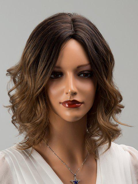 Short Side Parting Colormix Wavy Human Hair Wig - multicolor