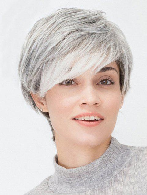 Short Side Bang Layer Straight Cosplay Wig - SILVER