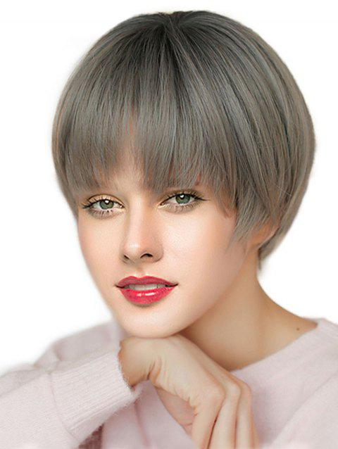 Short See-through Bang Straight Synthetic Wig - multicolor