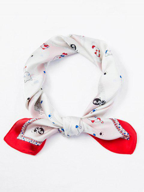 Dog Cat Pattern Square Scarf - WHITE