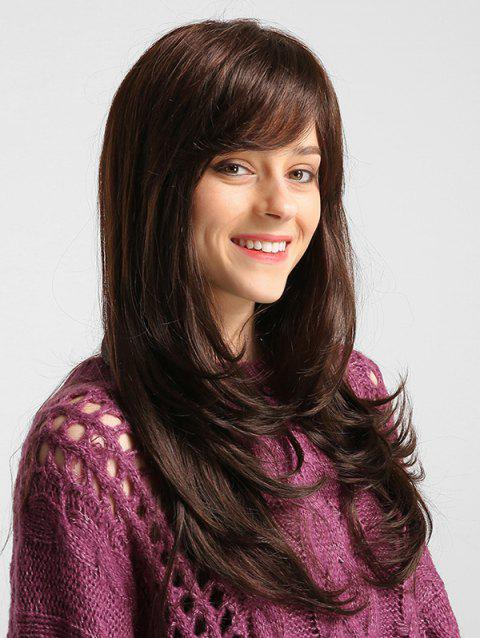 Side Bang Straight Long Solid Human Hair Wig - BROWN 24INCH