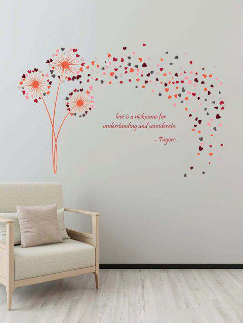 Heart Dandelion Print Wall Art Stickers - multicolor