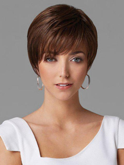 Inclined Fringe Capless Straight Short Synthetic Wig - BROWN