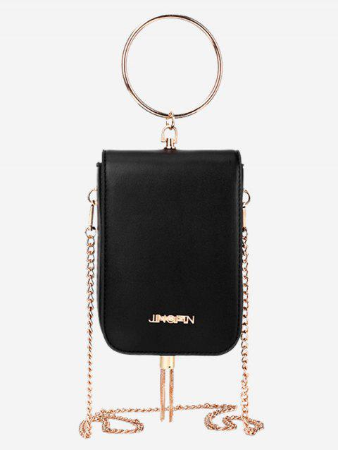 Mini Chain Tassel Shoulder Bag - BLACK