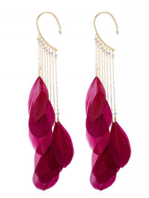 Pair of Beads Feathers Fringed Earrings - RED