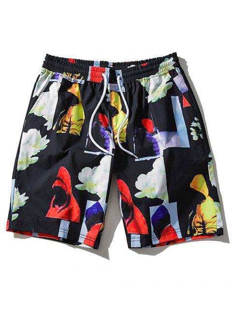 Flower Patchwork Board Shorts - BLACK XL