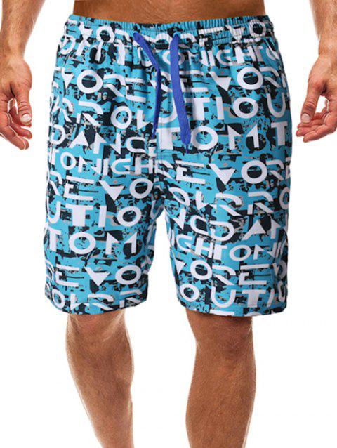 Allover Letters Painting Print Beach Shorts - multicolor 2XL