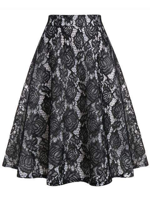 Plus Size Lace Panel A Line Skirt