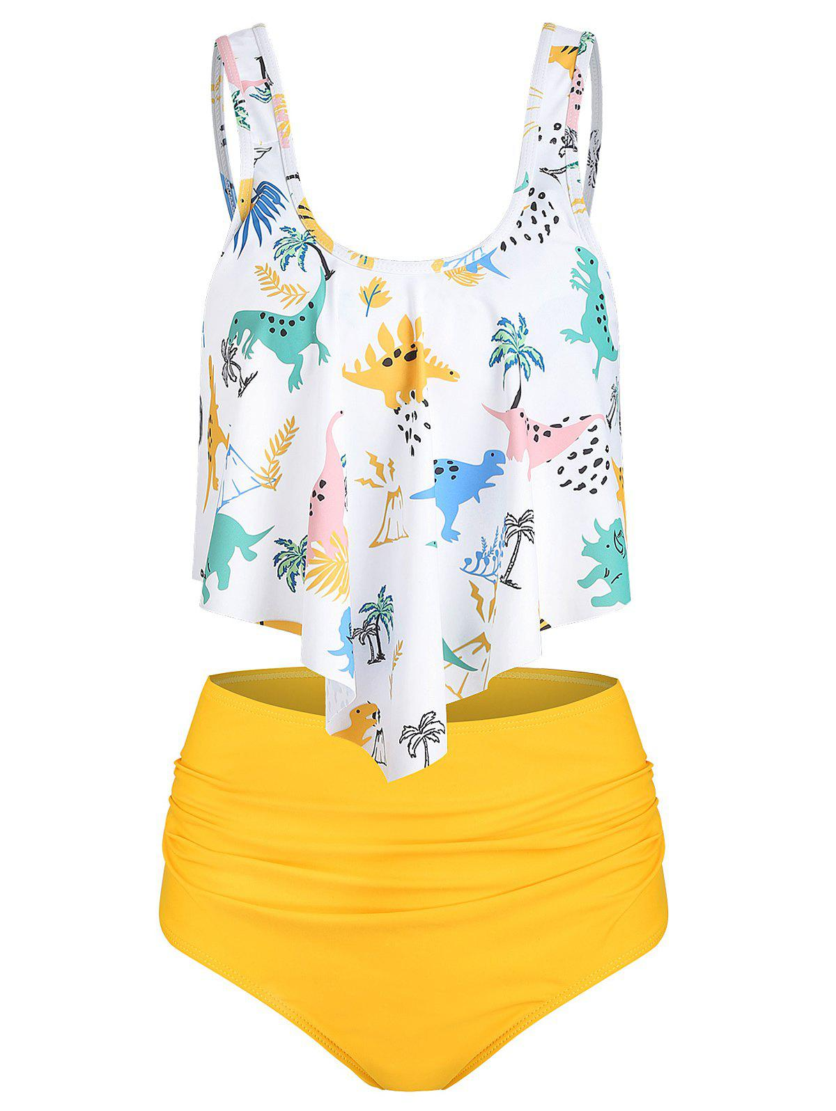 Padded Dinosaur Print Tankini Set - YELLOW 3XL