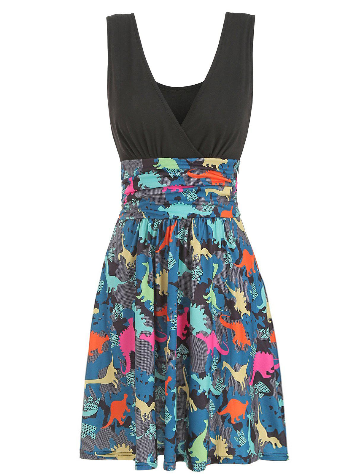 Ruched Dinosaur Print Sleeveless Flare Dress - BLACK 2XL