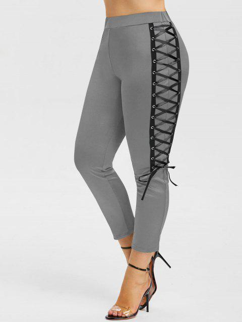 Plus Size High Waist Lace Up Skinny Leggings - GRAY CLOUD 1X