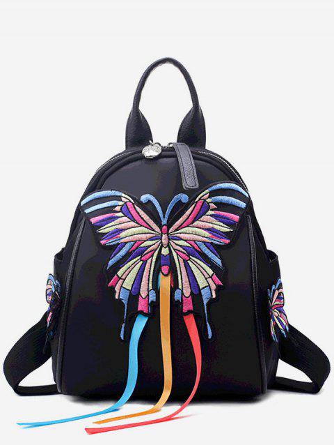 Butterfly Embroidery Backpack - BLACK