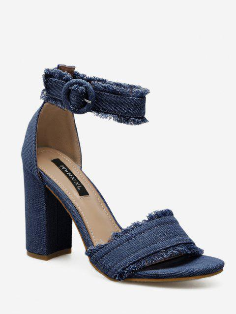 Ripped Denim Buckled High Heel Sandals - DENIM DARK BLUE EU 39