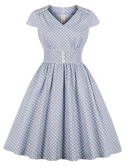 Polka Dot Piping Vintage Dress - BLUE GRAY L