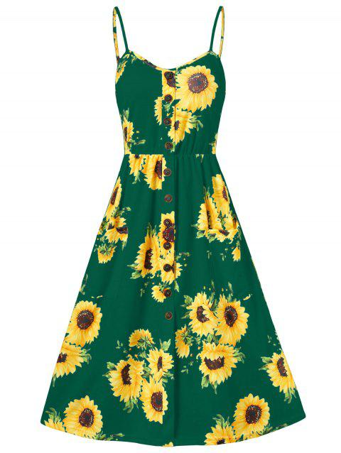 9dfee801ef 45% OFF] 2019 Sunflower Print Button Up A Line Cami Dress In DEEP ...