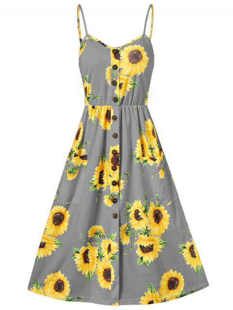 Sunflower Print Button Up A Line Cami Dress - DARK GRAY 3XL