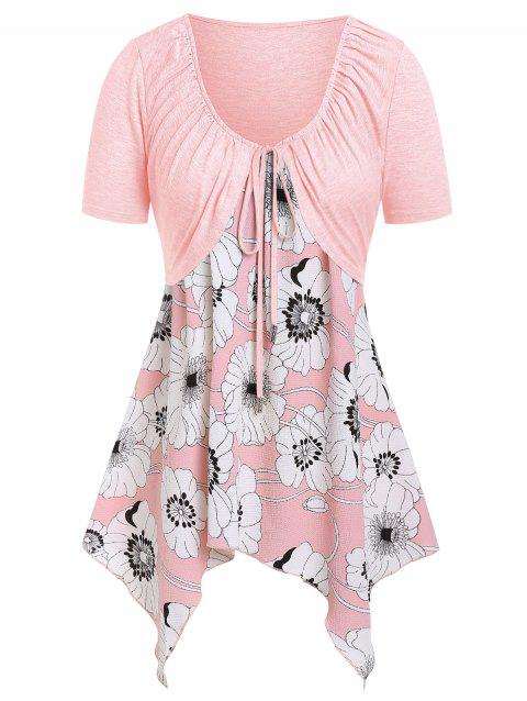 Plus Size Floral Handkerchief Cami Top With Tee - PIG PINK 5X