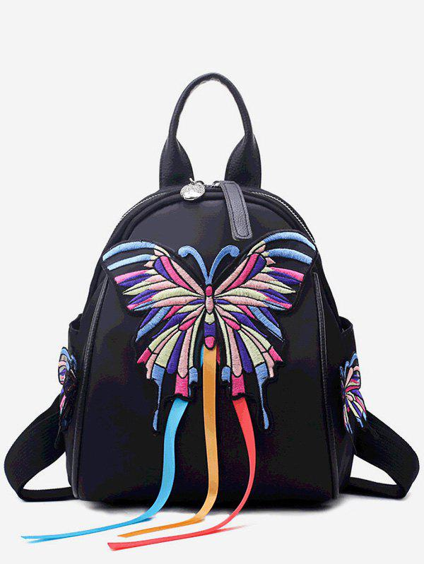 Ethnic Butterfly Embroidery Leather Small Backpack - BLACK