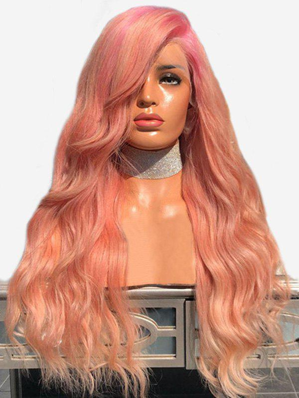 Long Side Bang Natural Wave Colormix Cosplay Party Wig - LIGHT PINK