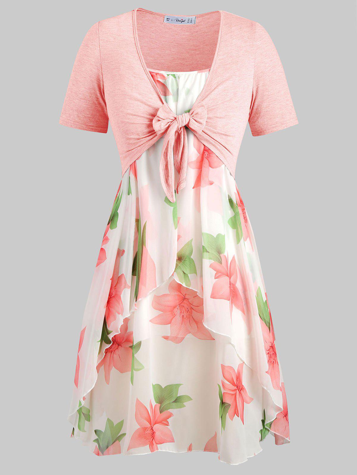 Plus Size Knot Top and Floral Chiffon Dress - PINK 1X