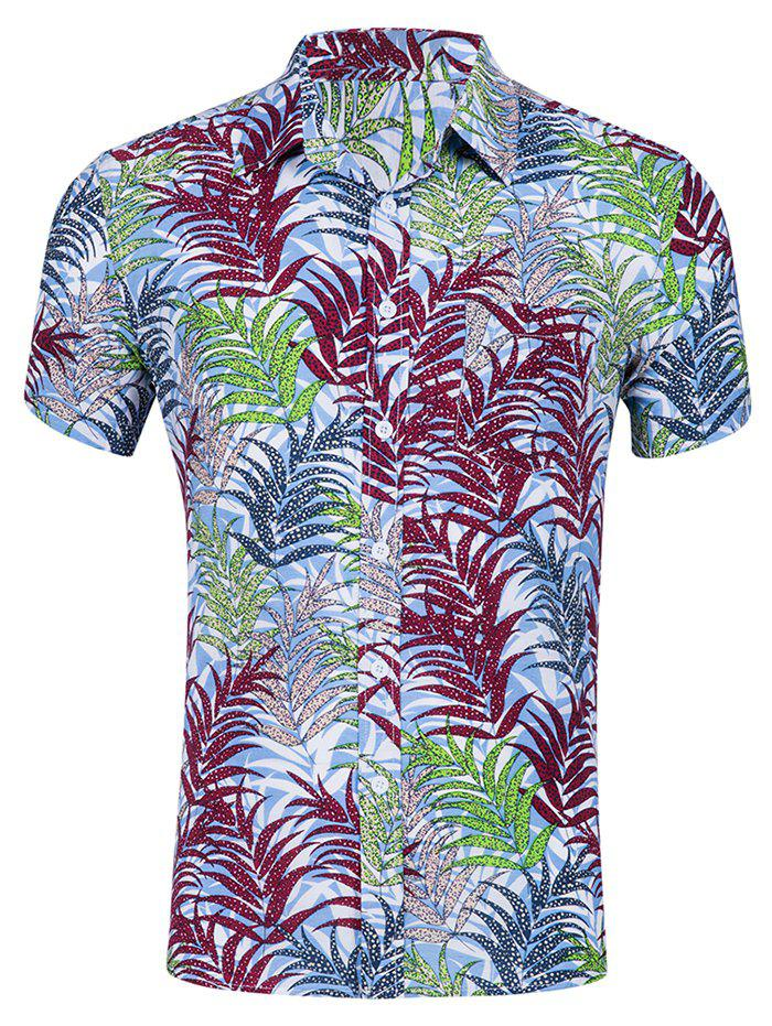 Leaf Print Leisure Short Sleeves Shirt - multicolor A 2XL