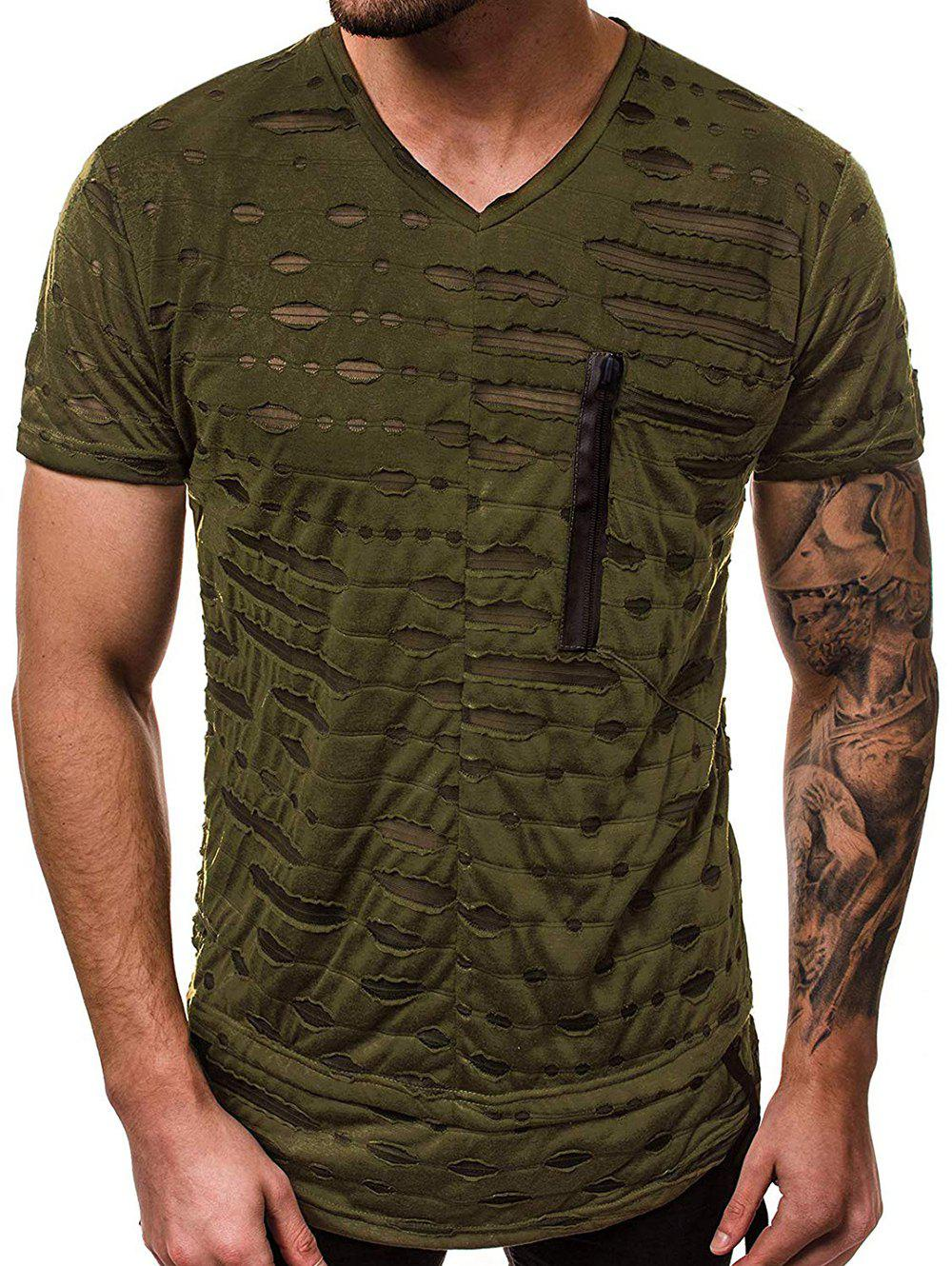 Hollow Out Patchwork Short Sleeves T-shirt - ARMY GREEN XS