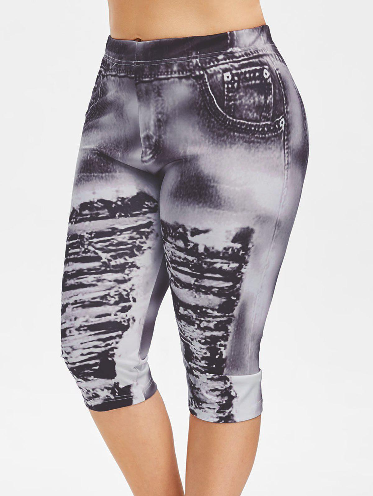 Plus Size 3D Ripped Jean Print Legging - CARBON GRAY 5X