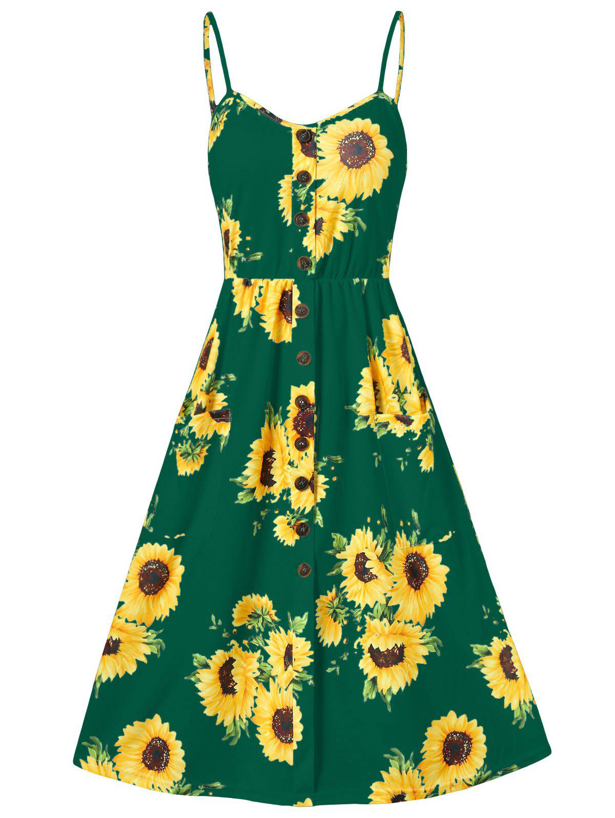 Sunflower Print Button Up A Line Cami Dress - DEEP GREEN XL