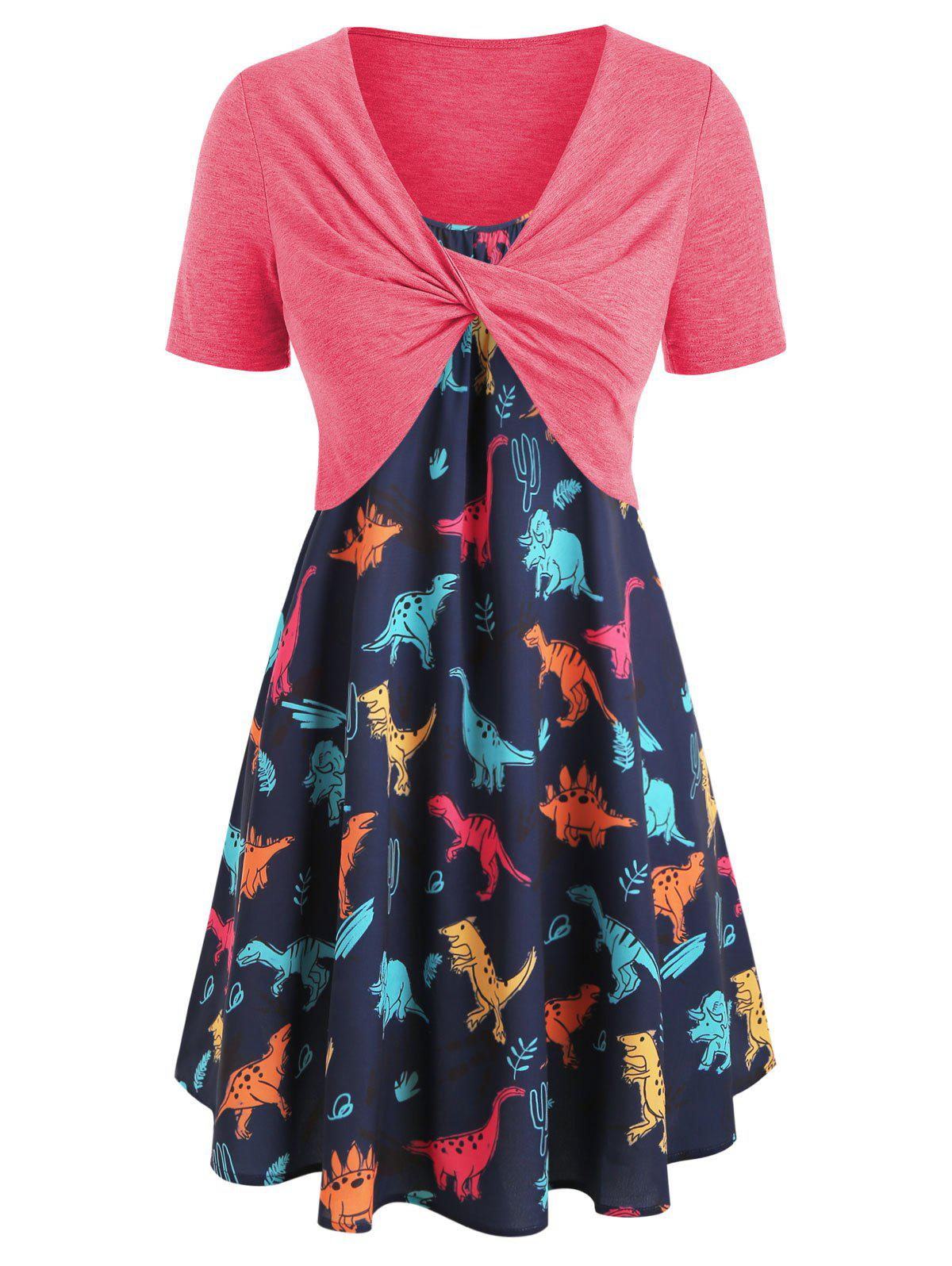 Plus Size Dinosaur Print Ruffled Dress With Twist Top
