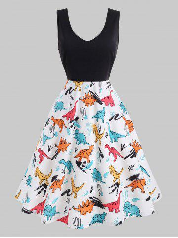 2b2ef8de2f8 Plus Size Dinosaur Print Pin Up Dress