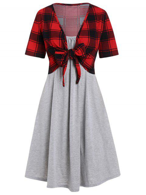 Knotted Plaid Top and Cami Dress Set - GRAY CLOUD M