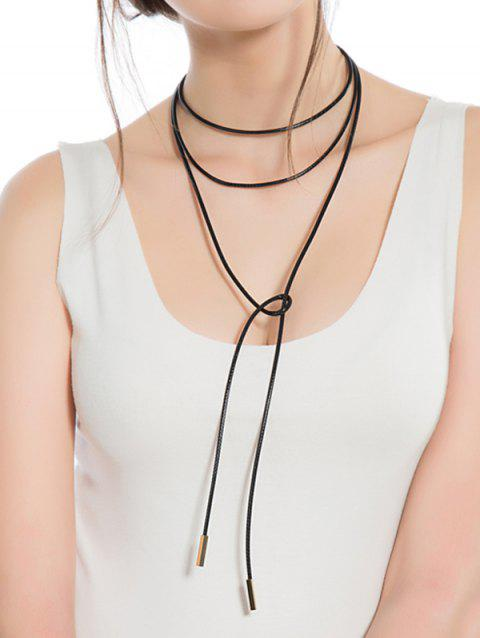 Collier Multicouche Simple Longue à Corde - Noir
