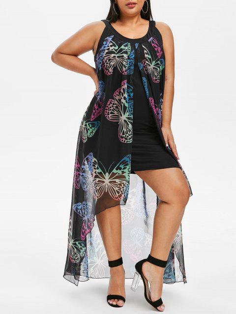 Plus Size Butterfly Print Overlay Maxi Dress - BLACK L