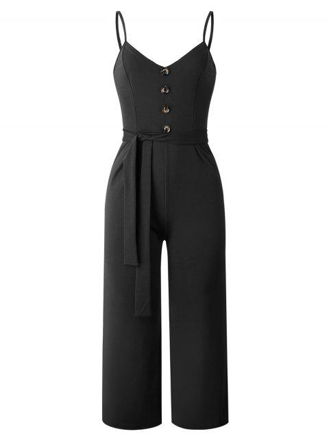 Spaghetti Strap Belted Buttoned Jumpsuit - BLACK XL