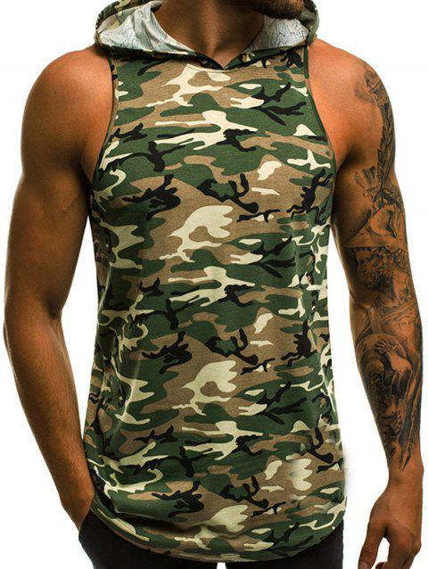Camouflage Pattern Hooded Tank Top - CAMOUFLAGE GREEN M