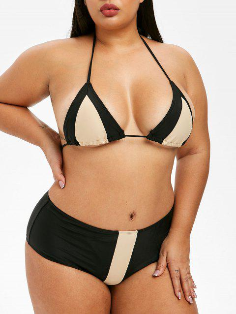 c779385b361c6 41% OFF] 2019 Plus Size Halter Color Block Bikini Set In BLACK ...