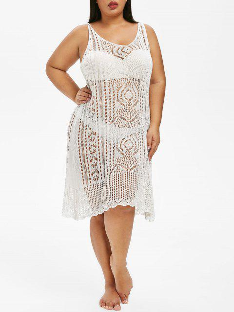 Plus Size Sheer Crochet Cover Up Dress - WHITE ONE SIZE