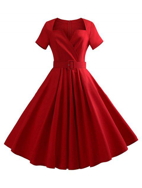 Notched Collar Belted Flare Dress - RED L