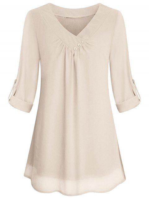 Cuffed Sleeves Buttons Solid Blouse - WARM WHITE L