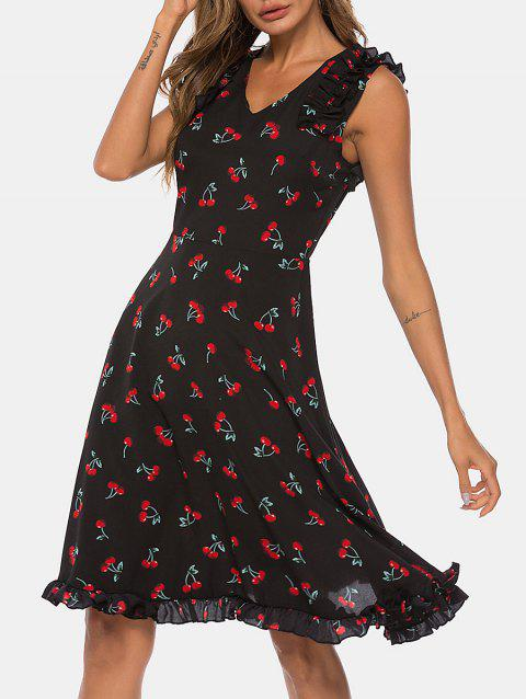 Cut Out Cherry Print Flare Dress