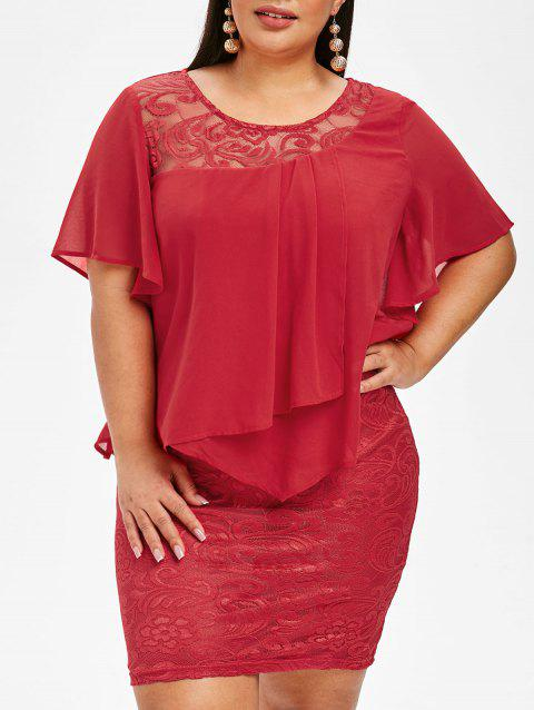 Plus Size Overlay Bodycon Lace Dress - RED 5X