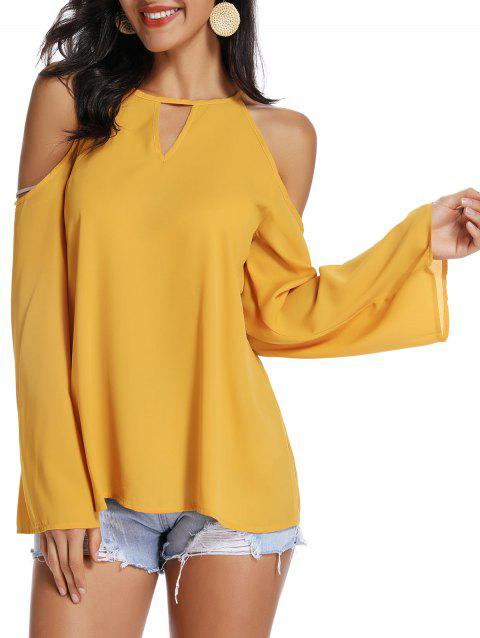 Cold Shoulder Keyhole Blouse - BEE YELLOW 2XL