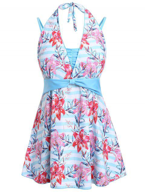 Plus Size Floral Print Halter Skirted Tankini Set - DEEP SKY BLUE 5X