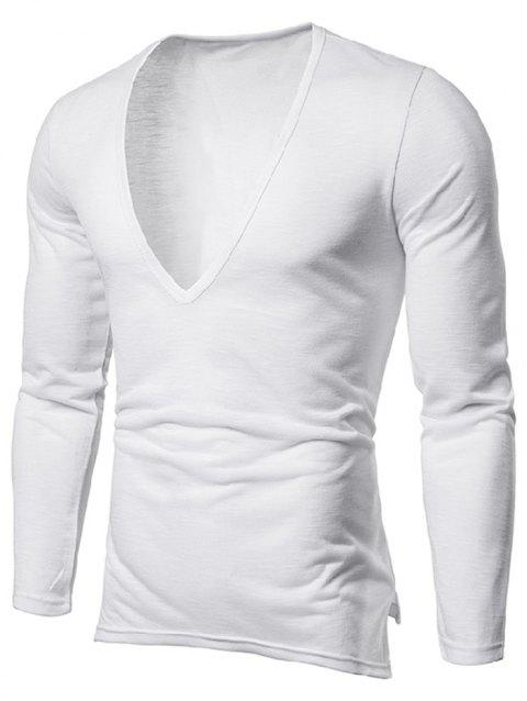 Solid Color Long Sleeves T-shirt - WHITE L