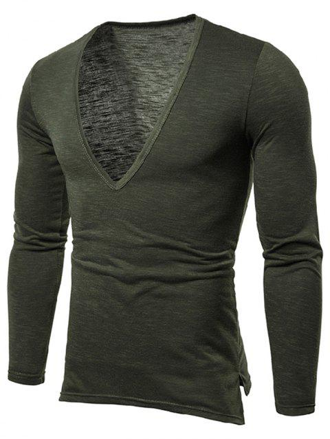 Solid Color Long Sleeves T-shirt - ARMY GREEN L