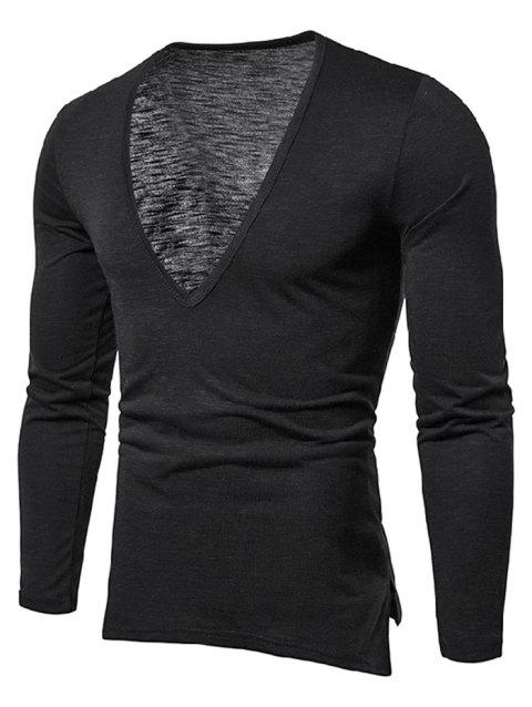 Solid Color Long Sleeves T-shirt - BLACK M