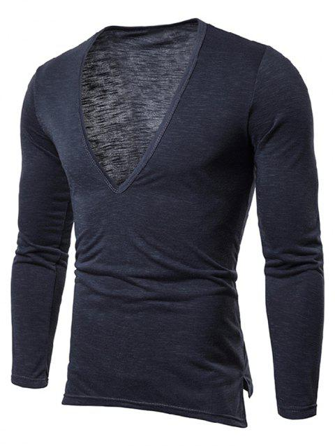 Solid Color Long Sleeves T-shirt - CADETBLUE M